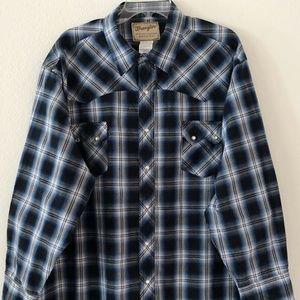 Wrangler Mens Pearl Snap LS Shirt Size 3XL Blue
